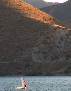 not sure who, sailing at sunrise on Lucky Peak reservoir
