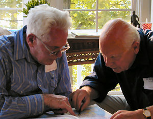 Bill Walthers and Jobst von Alten checking the map at Big Cedar L., 2003