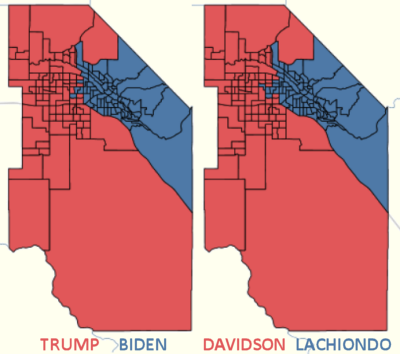 Red/blue splits for President, and Ada Co. Commission No. 1
