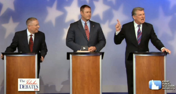 Screen shot from the video of the debate