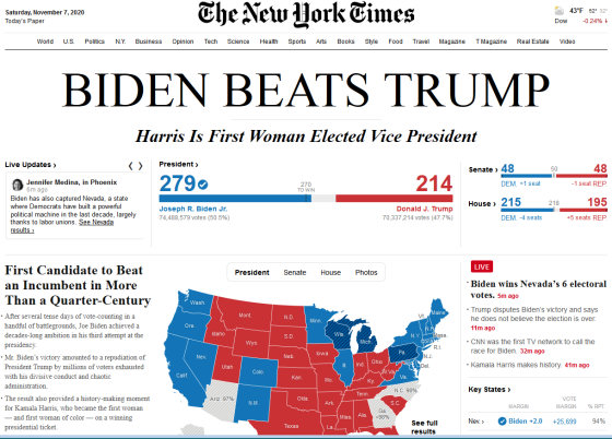 The front page of the NYT just now