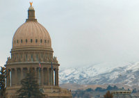 The Capitol and the foothills, from Idaho St.