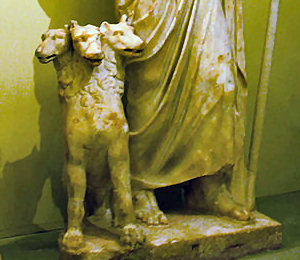 Cerberus at Hades' feet, Heraklion Archaeological Museum, Crete, Greece