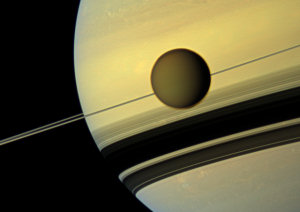 Titan, and Saturn, (crop of) natural color image from CICLOPS