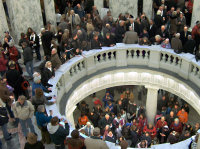 The crowd surges into the rotunda