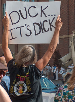 A protester for Dick Cheney's visit to Idaho