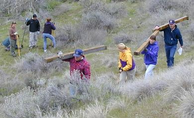 Putting in trail signs at Hull's Gulch, Earth Day (Apr. 21), 2001