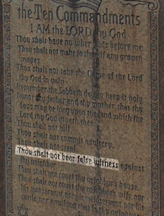 An excerpt of the Ten Commandments