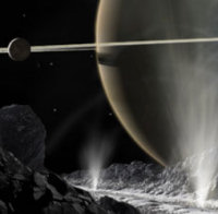 Excerpt of artist's conception of the geysers on Enceladus
