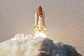 Space Shuttle Endeavour during liftoff. NASA photo