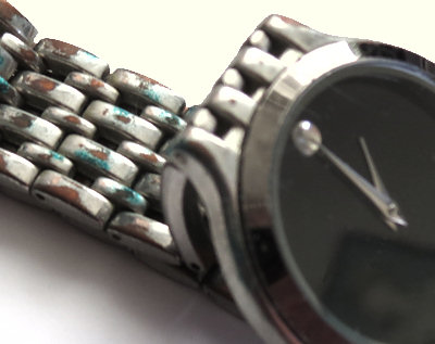 Funky corrosion on not so 'stainless', not so 'Movado' watch band