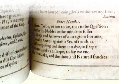 My image of the First Folio, opened to Hamlet
