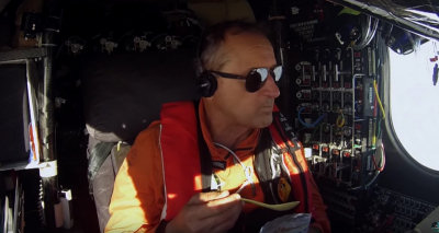 Borschberg flying, screen shot from solarimpulse.com video