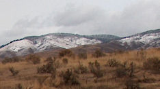 Snow in the mountains, seen from the Fort Boise reserve