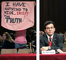 from Doug Mills' NYT photo of Gonzales testifying to Congress