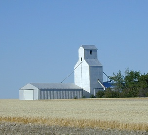 A Montana farm's grain elevator, east of Great Falls