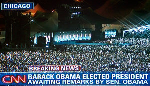 The crowd in Grant Park in Chicago, as seen on CNN