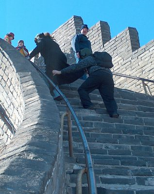 Bruce Fenwick on the steepest stair in the restored Badaling section of the Great Wall, Nov. 2003