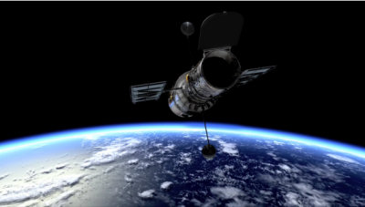 Still from the video, illustration of the Hubble Space telescope in orbit