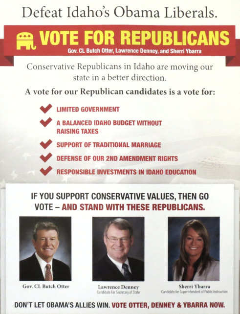 reverse of Idaho Republican State Central Commitee mailer