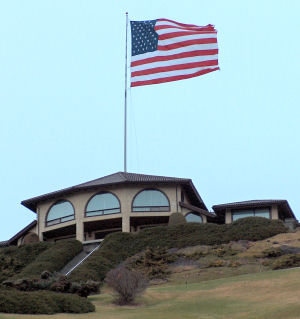 JR's house--and flag--on a hill