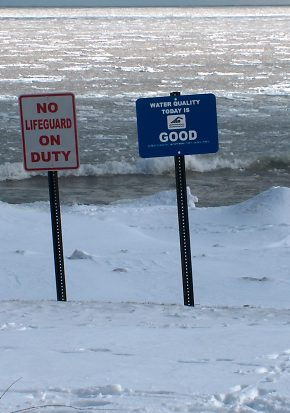 No Lifeguard on Duty, but the water quality is good. Klode Beach,  Whitefish Bay, Wisconsin, in early February 2004
