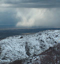 From Bogus Basin Road, winter showers