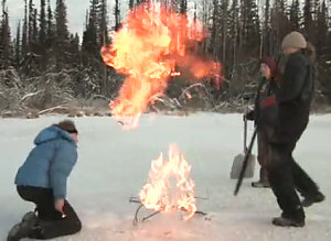 Still from the 2009 video, Arctic Lake Methane Ignited