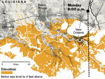 excerpt of NYT graphic showing low-lying Louisiana
