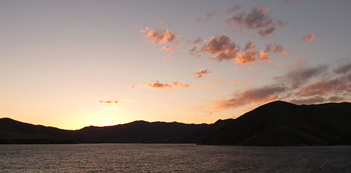 Sunrise over Lucky Peak reservoir, from Barclay Bay