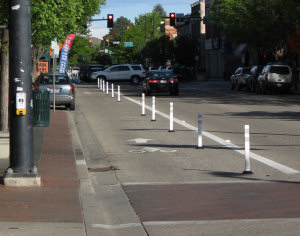 Buffered bike lane project on Boise's Main St.