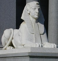One of the sphinxes at Leland and Jane's mausoleum