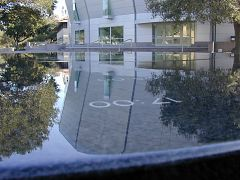 Maya Lin's clock and the Stanford Teaching Center, 2001
