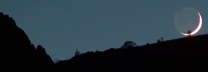 Moonset over the Owyhee River canyon, at Three Forks