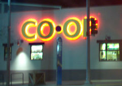 Moscow (Idaho) Co-op, at night