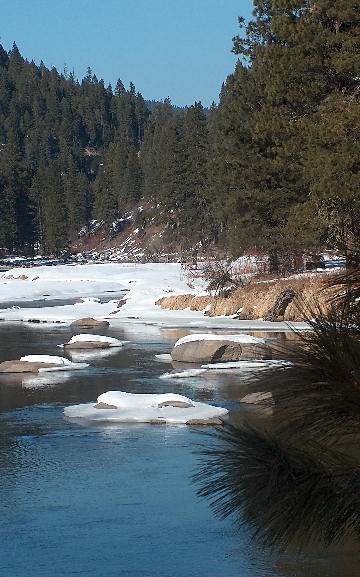 N. Fork of the Payette, snow running out with February