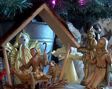 Jeanette's nativity scene, under the tree