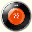 The Nest Learning Thermostat, in heating mode
