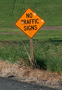 NO TRAFFIC SIGNS sign