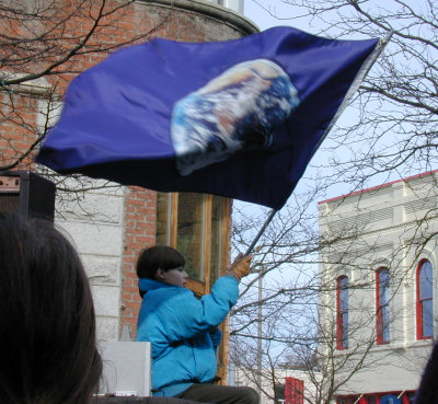 An earth flag at Moscow, Idaho's rally on 2/15/2003