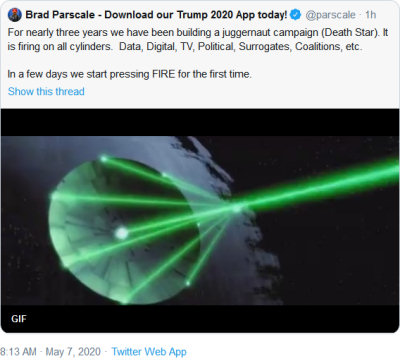 Parscale's tweet, with a Death Star GIF