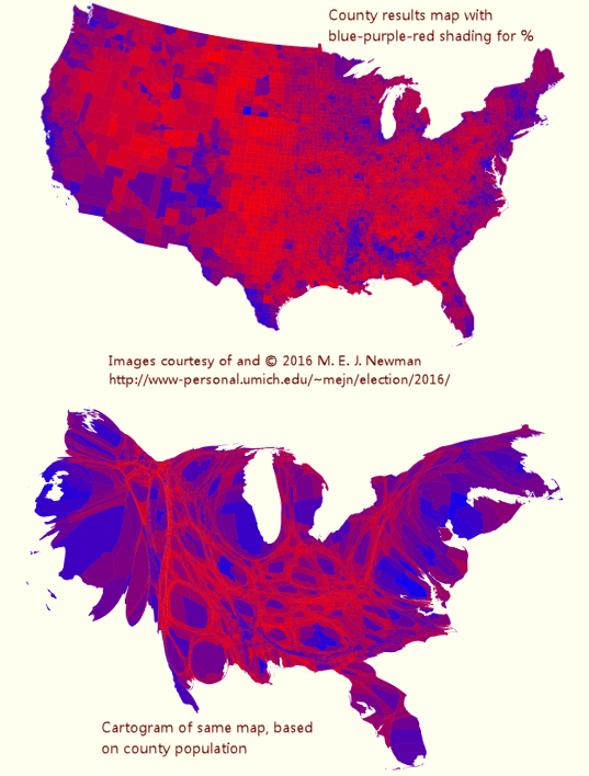 Presidential election 2016, mapped by county, by Mark Newman