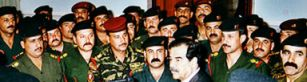Excerpt of AFP/INA photo showing the Iraqi Republican Guard rallying around Saddam Hussein