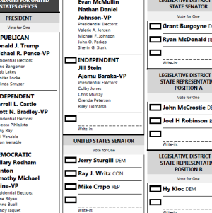 Snippet of precinct 1613-G sample ballot