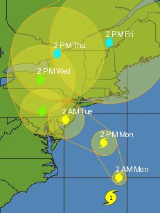5-day forecasted track of Hurricane Sandy