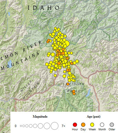 USGS Latest Earthquakes view this morning