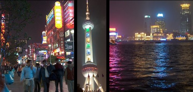 Three scenes of Shanghai by night: Nanjing Rd., the Oriental Bright Pearl TV Tower, the Bund