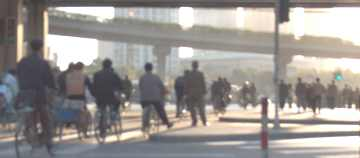 Morning bicycle traffic at a Shanghai interchange