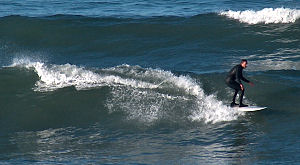 Surfing the Pacific, off Solana Beach