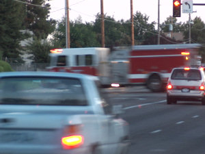 A fire engine zoomed by, Sept. 2008